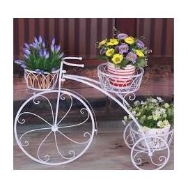 Triciclo decorativo metal blanco