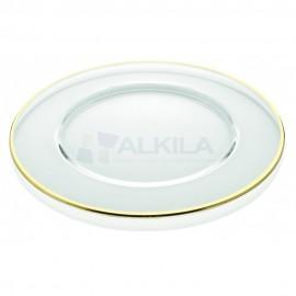 Plato de presentación transparente con filo dorado 32 cm