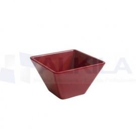 Bowl ming cuadrado melamina rojo 8 x 8 x 4,5 cm.