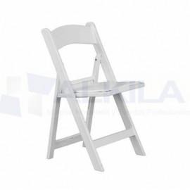 Silla america plegable con asiento polipiel blanco