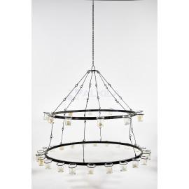 Lámpara forja doble círculo para velas