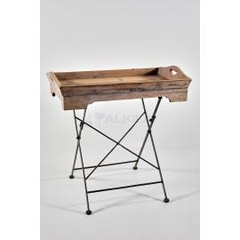 Bandeja madera con patas metal plegables