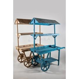 Carro madera expositor azul con tejado