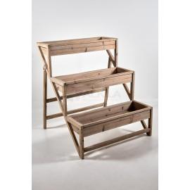 Escalera madera natural expositor