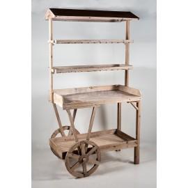 Puesto de madera 4 alturas, 4 huecos con ruedas