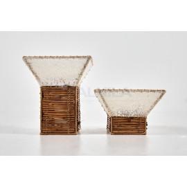 Portavelas cuadrados bambú