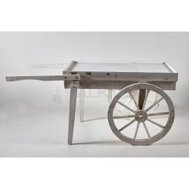 Carro madera decapada con ruedas